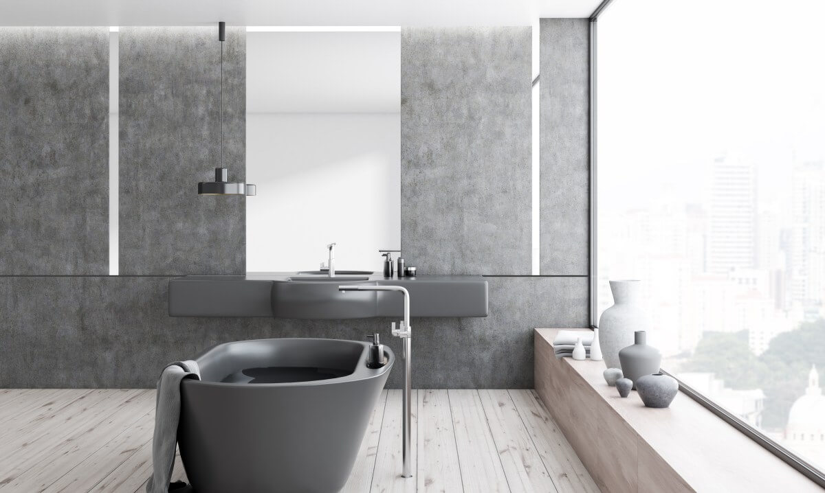 2019 bathroom design trends_Black and grey bathroom colours