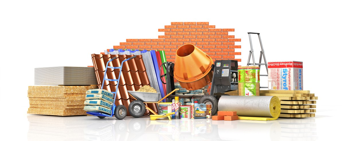 Materials and tools required for a large building project